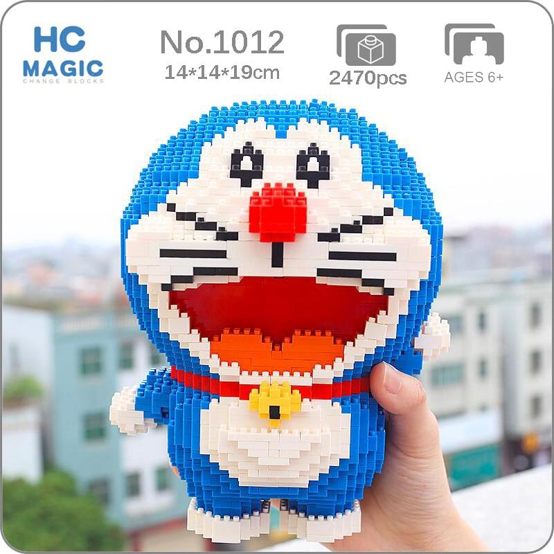 HC 1012 Anime Cartoon Doraemon Cat Animal Pet Robot 3D Model DIY Mini Diamond Blocks Bricks Building Toy for Children no Box