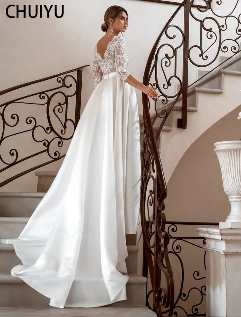 HERBURNL Elegant V-Neck Satin Wedding Gowns Dresses Lace Applique Long Sleeves Floor Length Stylish Fashion For Women