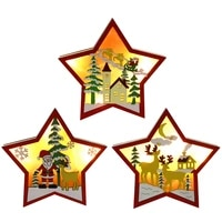 country style wooden christmas five pointed star with led lights dining table decoration crafts home banquet party decoration