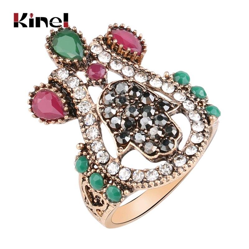 Kinel 2020 новое кольцо в стиле бохо турецкие ювелирные изделия винтажные большие кольца с дьявольской пальмой для женщин золотого цвета брендо...