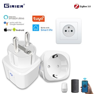 Tuya ZigBee 3.0 Smart Power Plug 16A Wireless App Voice Remote Control Socket Energy Monitor Outlet Works with Alexa Google Home
