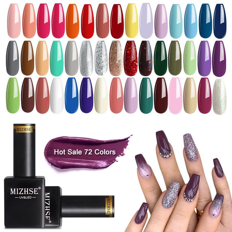 MIZHSE 2 unids/lote brillo de esmalte de uñas de Gel UV conjunto Color Led brillante lentejuelas Led barniz de uñas laca de Semi permanente Gel