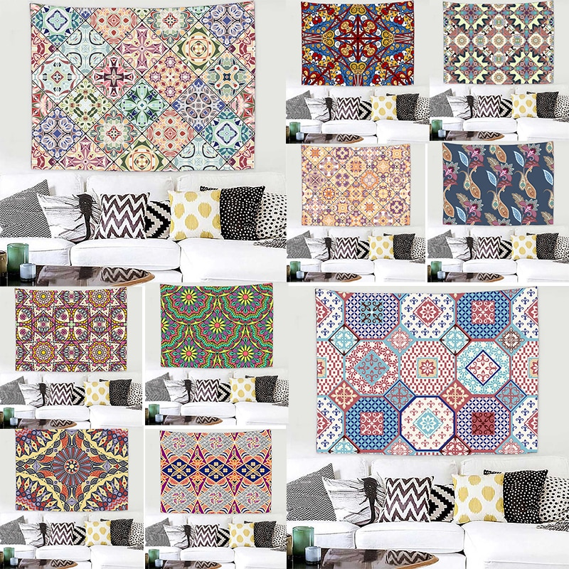 Ethnic Style Geometry Tapestry Witchcraft Room Decoration Wall Hanging  Mat Beach Towel Blanket Art Decor colorful large hanging funny text party decoration tapestry wall hanging blanket yoga beach mat home decor house decoration