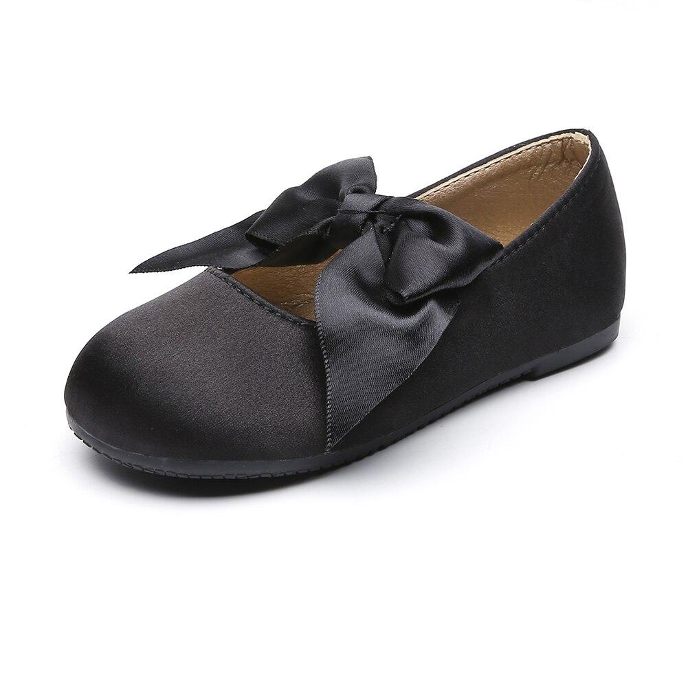 باليرينا بدون أربطة للفتيات الصغيرات ، أحذية ماري جين غير رسمية بفيونكة ، فستان مدرسي مسطح