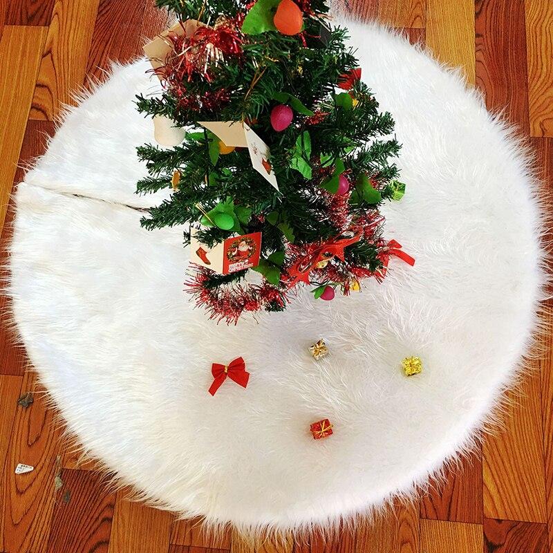 Falda de árbol de Navidad de felpa blanca pura falda de árbol de peluche de Navidad 78cm 90cm 122cm árbol de Navidad Decoración