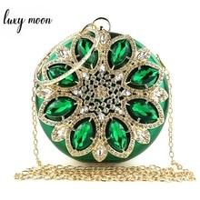 Green Clutch Bag Women Round Clutch Purse Evening Bag Crystal Wedding Purse and Handbag Exquisite Ch