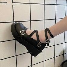 Sweet Lolita รองเท้าแพลตฟอร์มรอบหัวหนา Cross ผู้หญิงรองเท้า Kawaii รองเท้าคอสเพลย์ Mary Jane รองเท้าหัวเข็มขัดห...