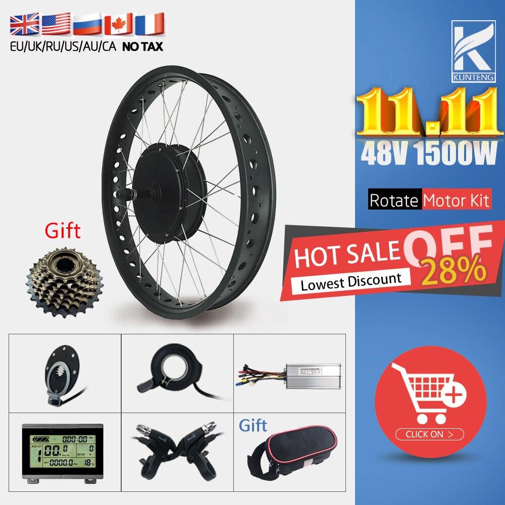 Fat Tire Ebike Conversion Kit 48V 1500W Rear Rotate Gearless motor Snow Bike Kit 20''26'' 4.0 Wheel Electric Bike Conversion kit