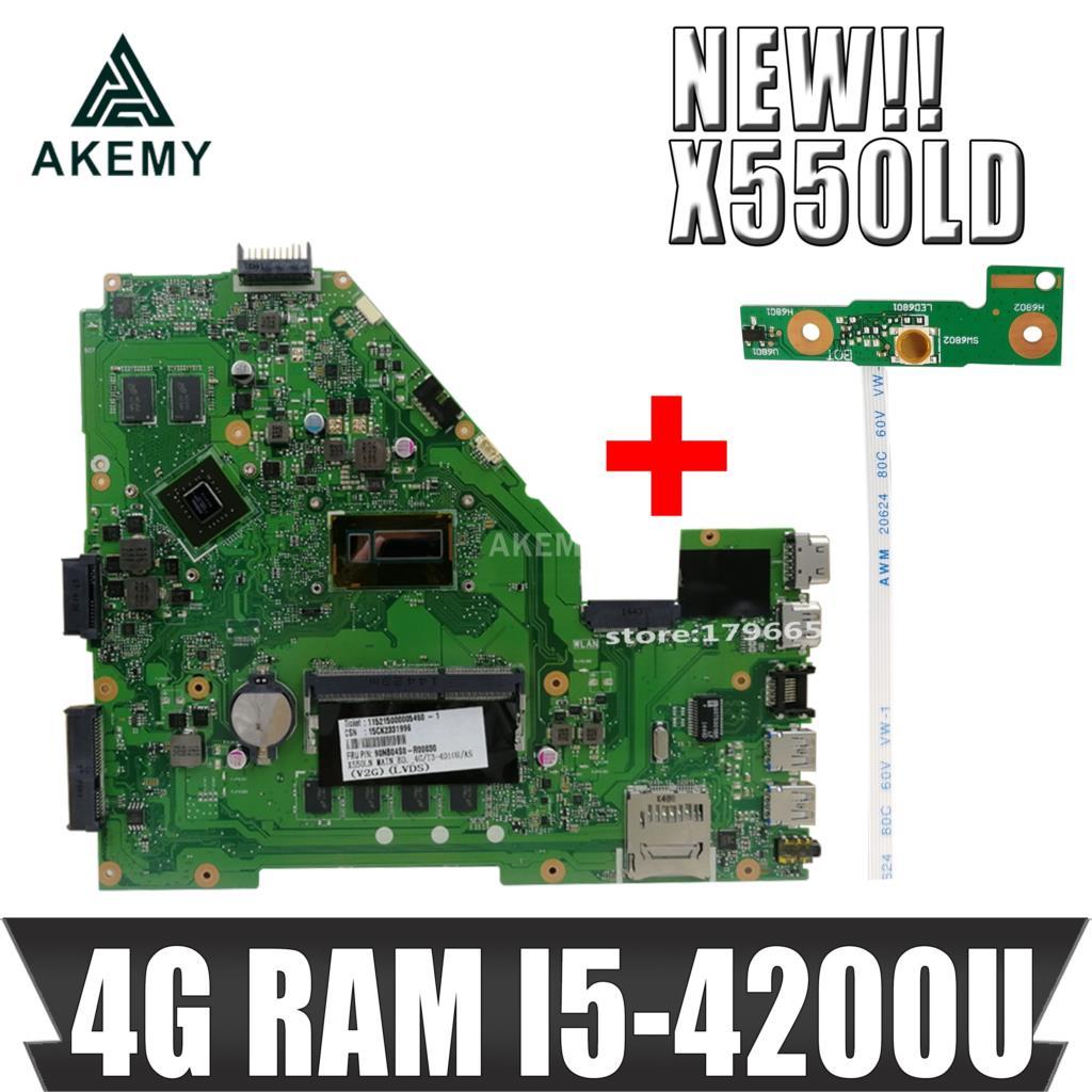 Akmey X550LD Laptop motherboard W/ I5-4200U 4GB-RAM GT820M For Asus X550LD A550L Y581L W518L X550LN Test original mainboard