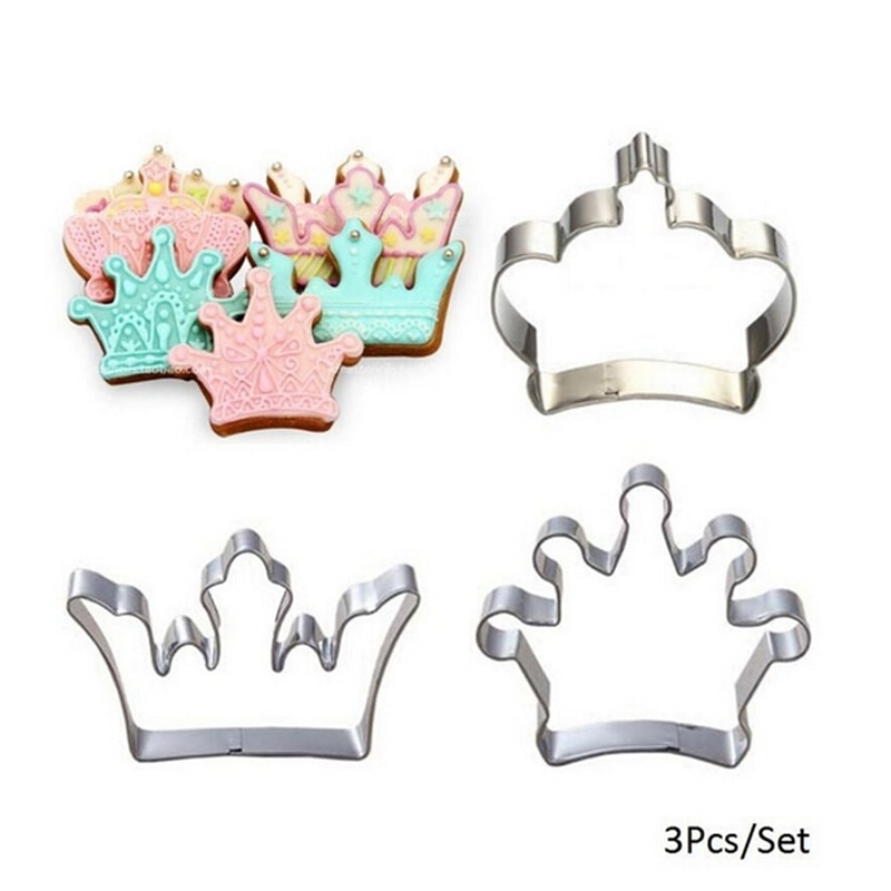 3PCS Stainless Steel Cookie Cutter Princess Crown King Queen Party Cake Biscuit Baking Tool Mold