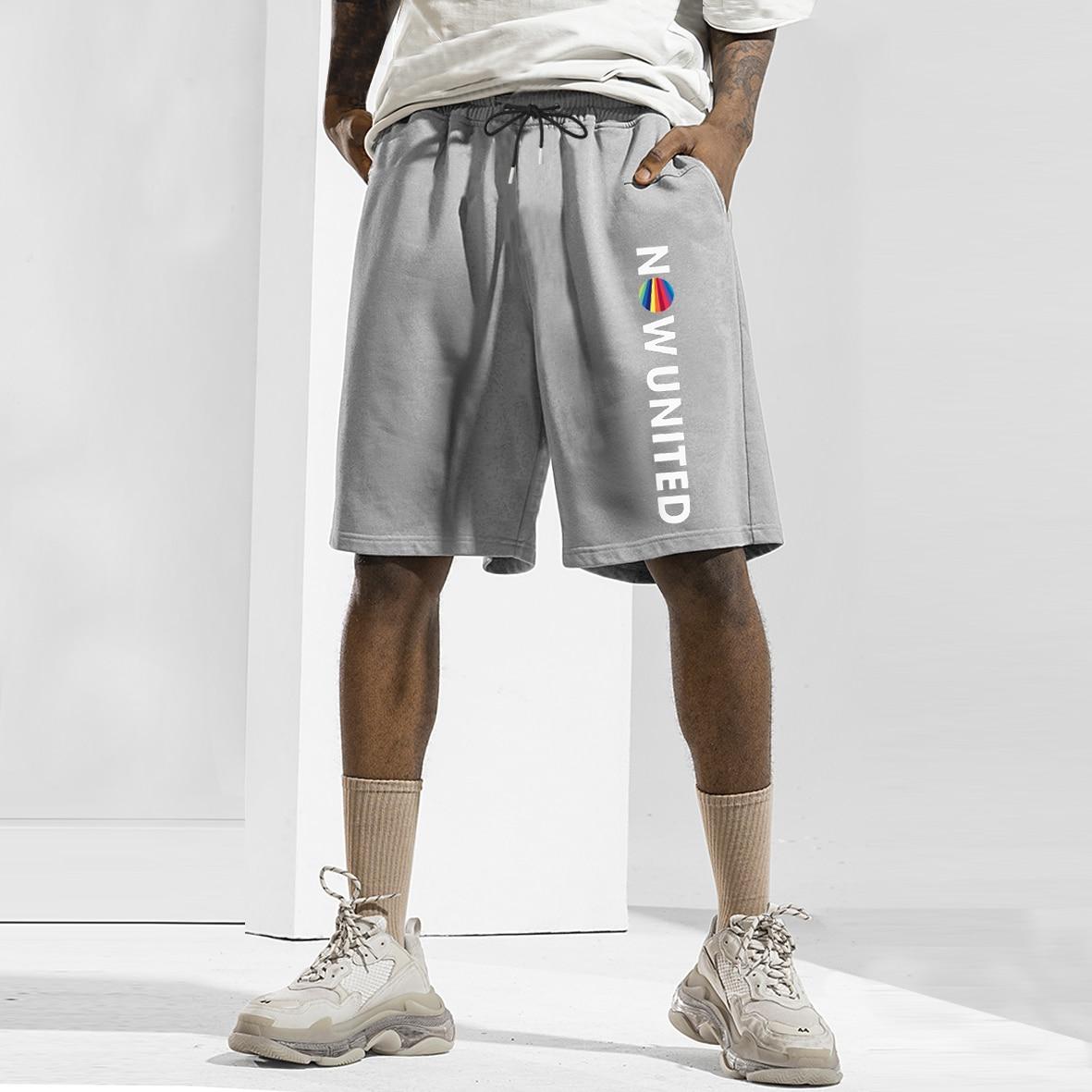 Популярные мужские шорты NOW UNITED, спортивные шорты для бега для мужчин, повседневные летние популярные однотонные шорты с эластичным поясом, ...
