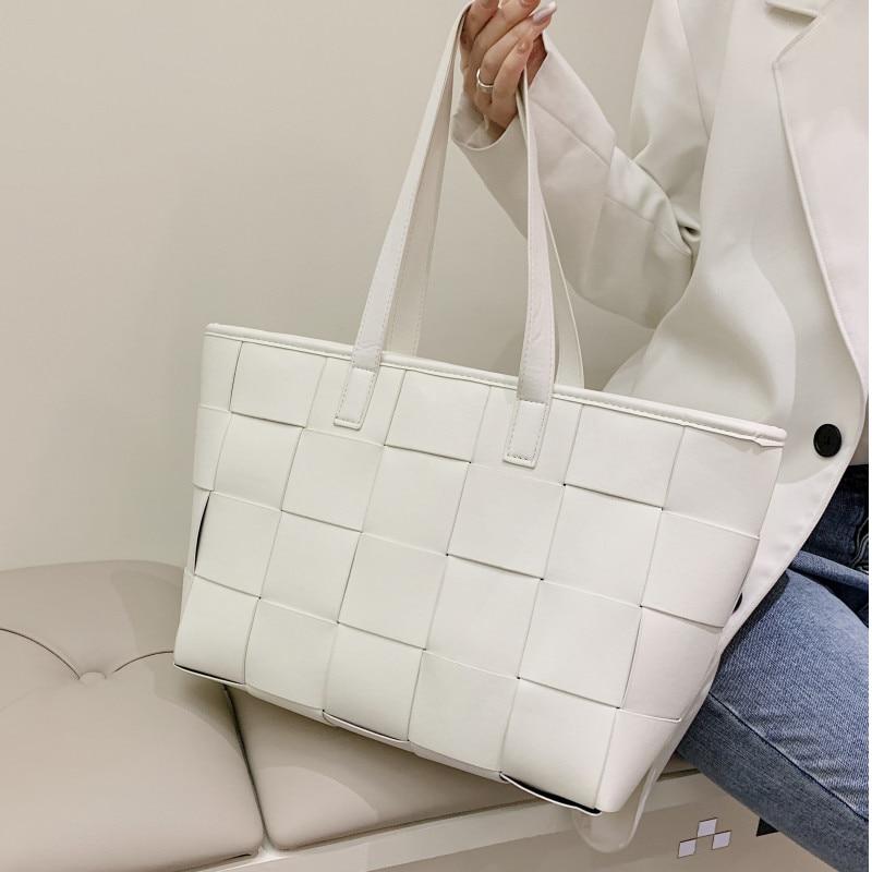 Women's Big Weave Bag Famous Designer Shoulder Bag Luxury Soft Leather Shopper Tote Bags Ladies Plaid Woven Handbags Sac A Main