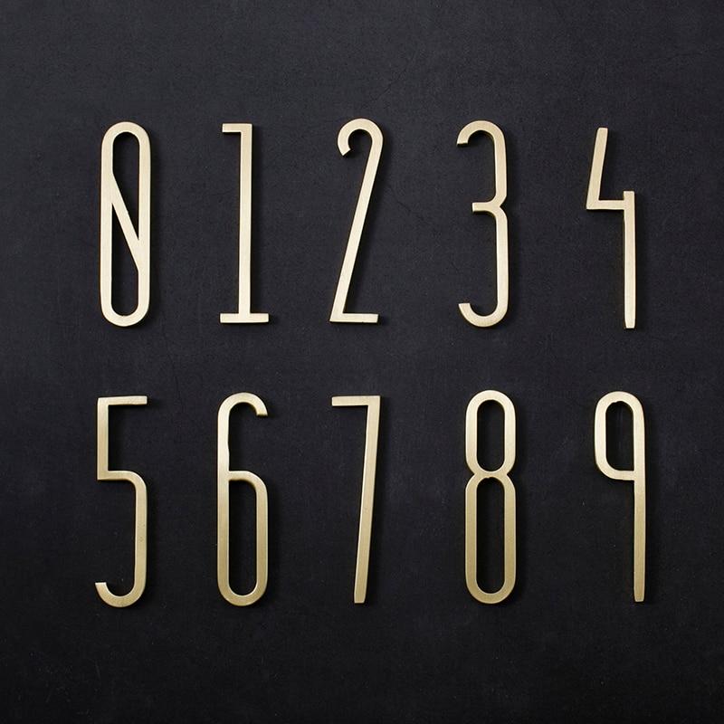 Brass House Number /70mm Height / 0-9Number Modern Plaque Number House Hotel Door Address Digits Sticker Plate Sign