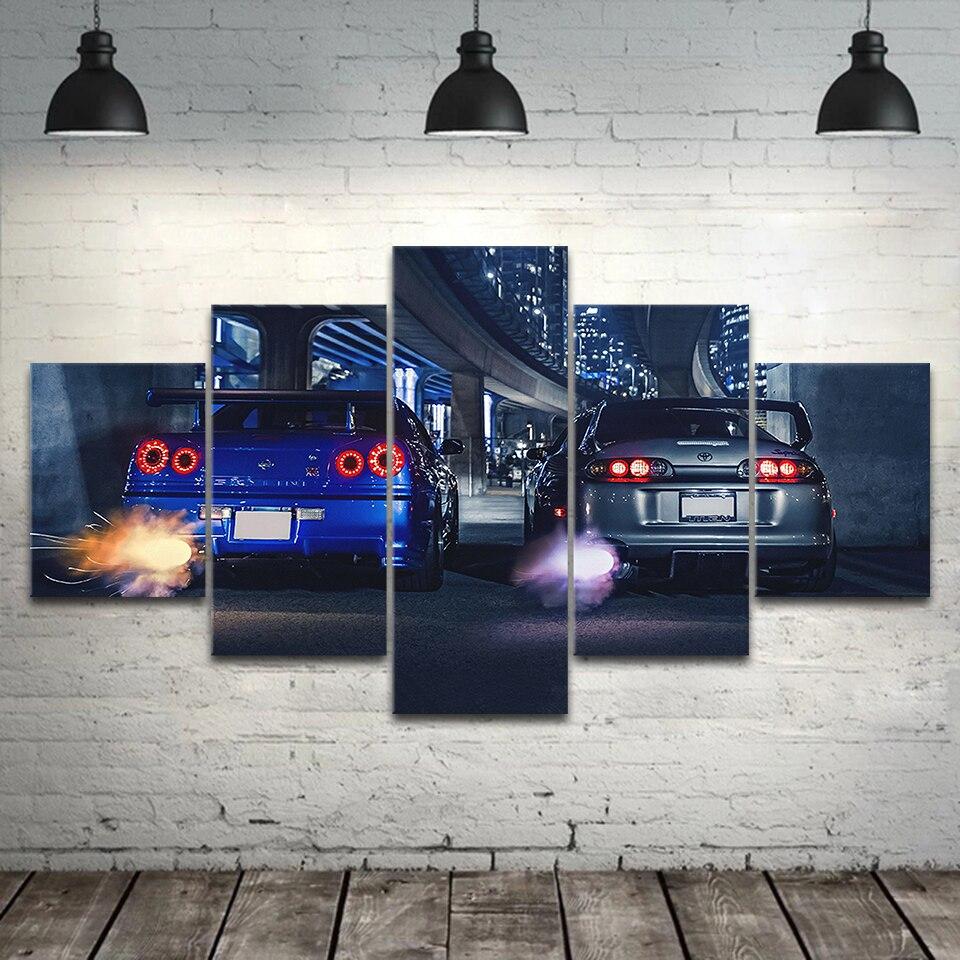 Marco de arte de pared de 5 piezas GTR R34 VS arriba vehículo moderno 5 paneles pintura de lienzo impresión HD para sala de estar casa decoración cartel