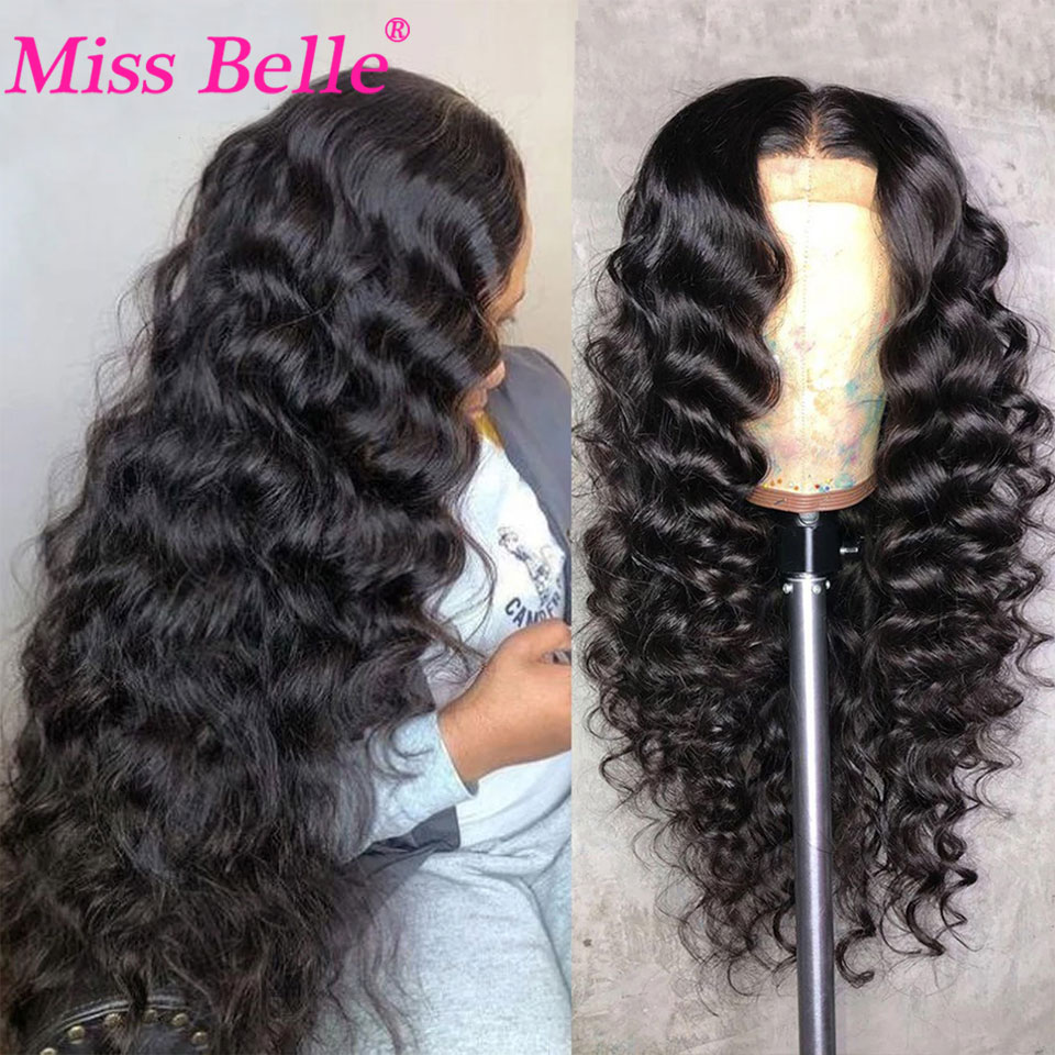 30 Inch Loose Deep Wave Wig Curly Human Hair Wig Peruvian Deep Wave Lace Frontal Wig Remy Lace Front Human Hair Wigs For Women
