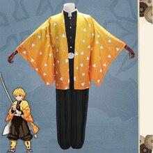 Anime démon tueur Agatsuma Zenitsu Cosplay Costume Kimetsu no Yaiba hommes Kimono Halloween Costumes uniforme vêtements