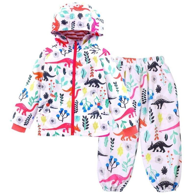 Impermeables de niños para niñas y niños lindo Estampado de dinosaurios conjunto impermeable chaqueta impermeable con capucha viajes al aire libre trajes de lluvia niños