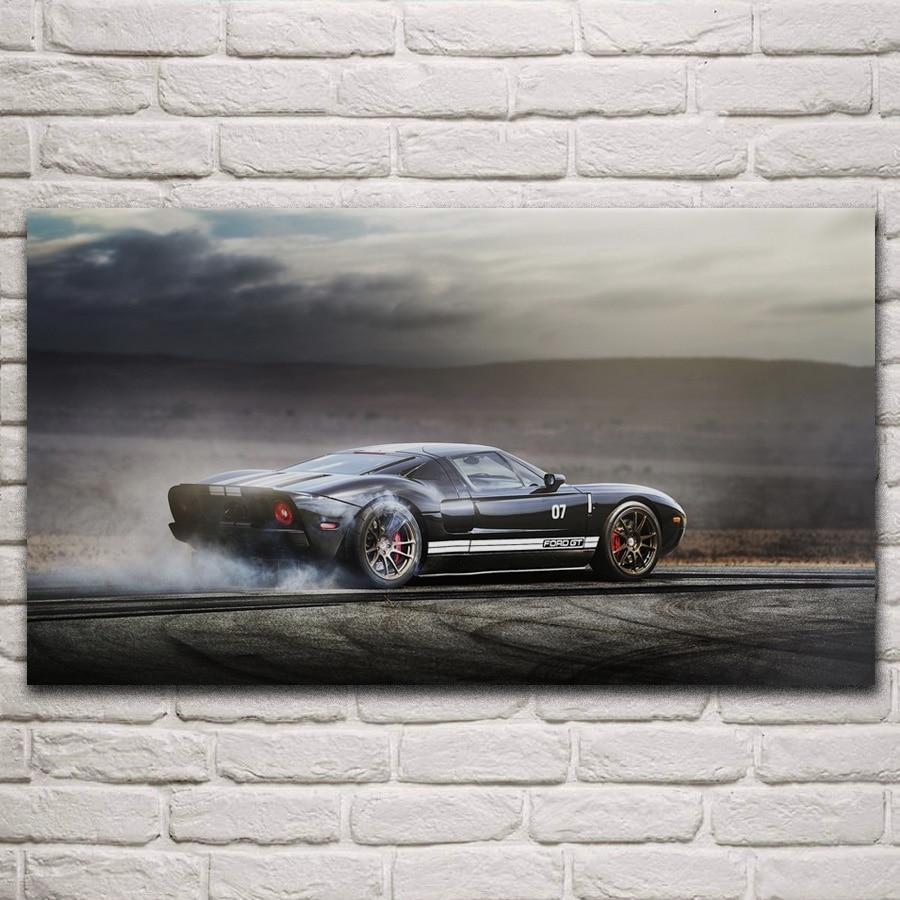 gt40 supercar race car burnout smoke fanart living room decoration home wall art decor fabric posters KM526