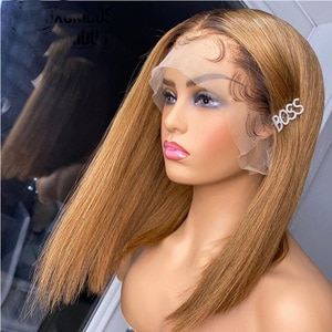 Glueless Preplucked 1B30 Ombre Blonde Straight Color Short Bob WIg Lace Front Synthetic Wig For Women With Baby Hairb