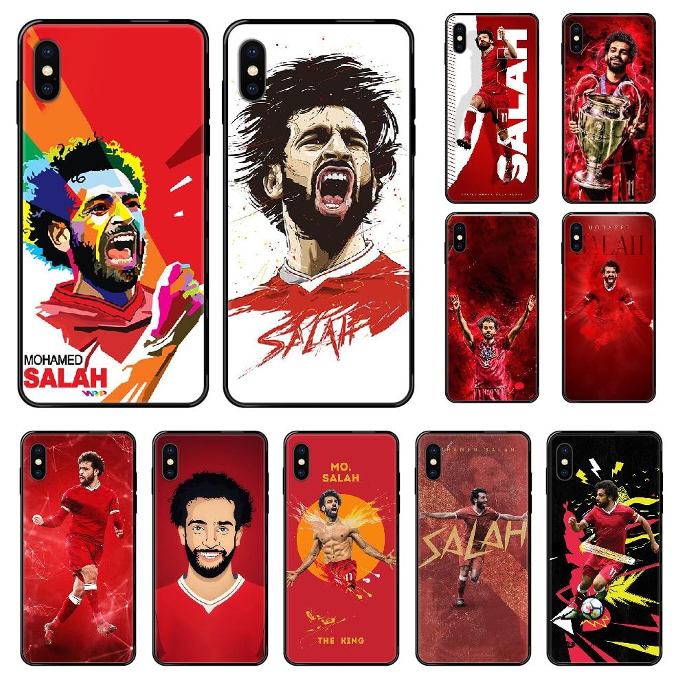 Fútbol Mohamed Salah Liverpool caja del teléfono para iphone 4 4s 5 5S SE 5C 6S 6 7 8 plus X XS X XR 11 PRO MAX 2020 negro de lujo primer
