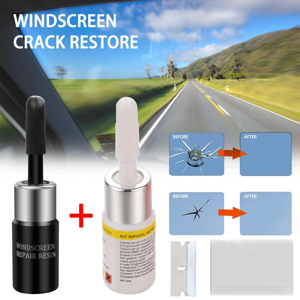 2 Pcs/Set Car Glass Nano Repair Fluid Kit Automotive Window Glass Crack Chip Repair In Stock!