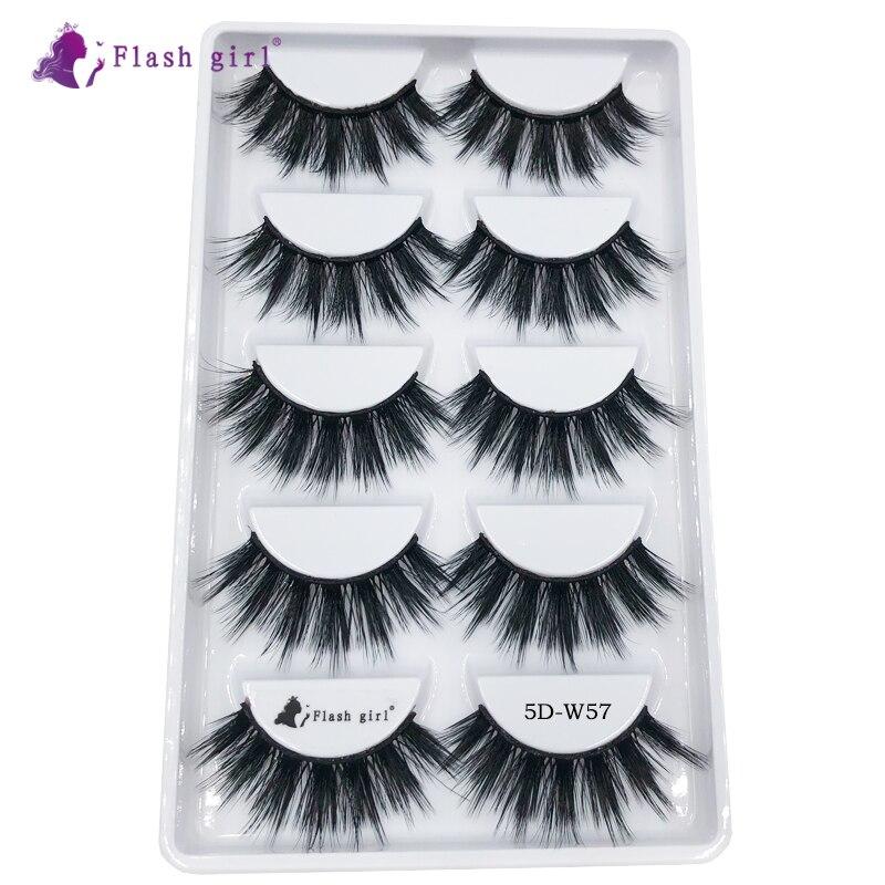 Flash Girl 5 Pairs 5D Faux Mink Eyelashes 5D-W57 Fluffy Natural Fake Eyelash 100% Handmade Thick Eye