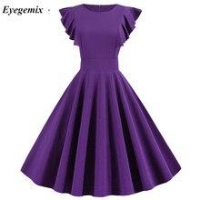 2020 sommer Einfarbig 50s 60s Vintage Kleid Robe Frauen Blütenblatt Sleeve Elegante Büro Party Midi Kleider Vestidos de Fiesta