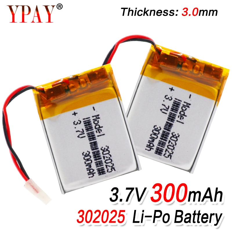 1/2/4 Uds 3,7 V 300mAh 302025 Lipo baterías de polímero de litio Lipo con PCM para MP3 MP4 MP5 Bluetooth auriculares reloj inteligente