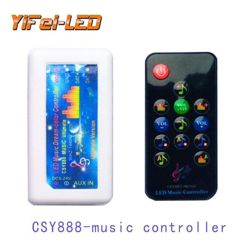 Novo led de cor cheia infravermelho ir rádio freqüência bluetooth música ws2812 2811 6812 controlador barra corrediça