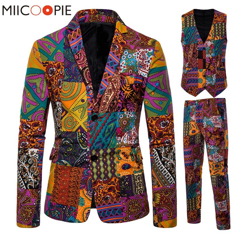 بدلة رجالية عالية الجودة من ثلاث قطع ، بدلة عرقية ، تصميم متعدد الطباعة ، سترات رجالية ، عريس ، زفاف ، سترة رجالية ، بنطلون