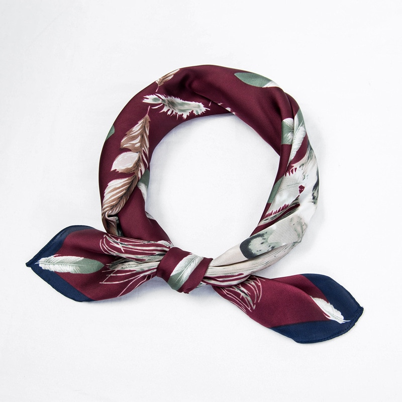 designer brand women scarf fashion 2019 flower print silk scarves square small Handkerchief office neck hair scarfs 70*70cm