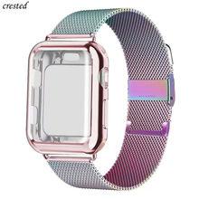 Case + Strap Voor Apple Horloge Band 44 Mm 40 Mm Iwatch Band 42 Mm 38 Mm Milanese Loop Armband apple Horloge Serie 5 4 3 2 38 40 42 44 Mm