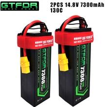 DXF 2PCS 4S Lipo Batterie 14,8 V 5200mAh 5300mAh 6500mAh 7300mAh 50C 100C 80C 160C 130C 260C Hardcase Für 1/8 Buggy RC Auto Lkw