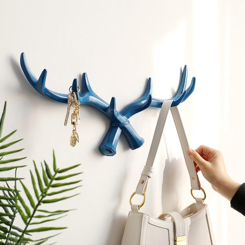 Настенный крючок из смолы с рогом оленя в скандинавском стиле для ключей, вешалка для сумок, шляп, пальто, Настенная декоративная вешалка для одежды, настенные крючки для домашнего декора