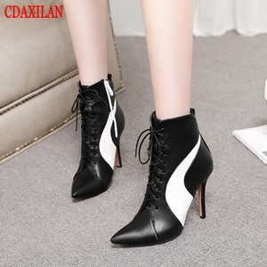 CDAXILAN new to women's boots PU leather fabric pointed toe high thin heels front lace-up Martin boots side zipper ankle boots