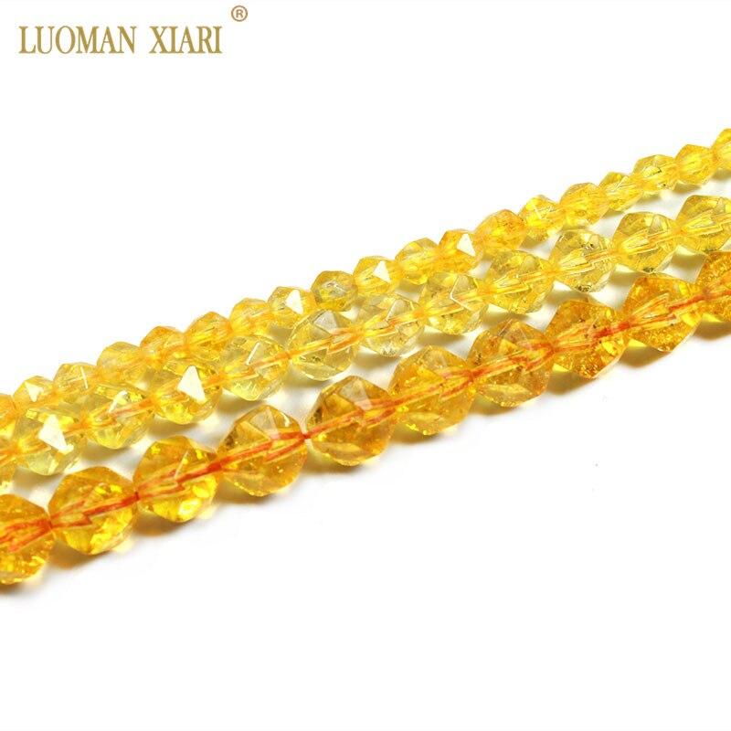 Fina AAA 100% citrina facetada Natural cuentas redondas de piedra Natural cristal amarillo para fabricación de joyería DIY pulsera collar 6/8/10MM