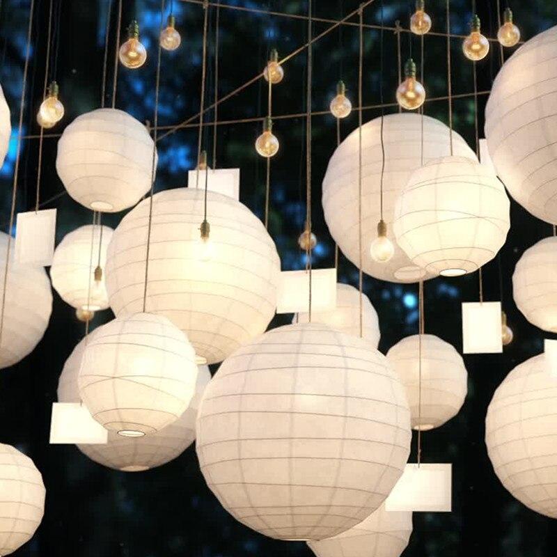 Lámparas de papel chinas coloridas de 10/15/20/25/30cm para Decoración de cumpleaños de boda Lampion DIY papel colgante bola vacaciones fiesta Supplie