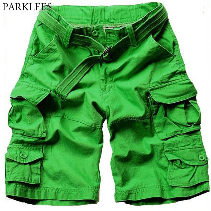 ¡Novedad de 2020! Pantalones cortos de carga verdes de verano para hombre, pantalones de carga holgados de Algodón 100% con múltiples bolsillos, pantalones cortos cómodos para hombre 3XL