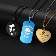 Acier inoxydable personnalisé collier personnalisé 5 couleurs Photo nom graver colliers pour femmes hommes saint valentin cadeau