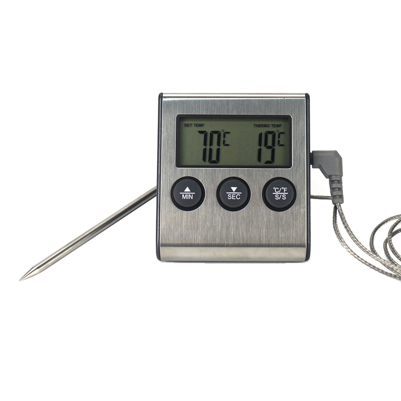 Digital BBQ Cooking Oven Thermometer Meat Kitchen Food Temperature Meter for Grill Timer Function wi