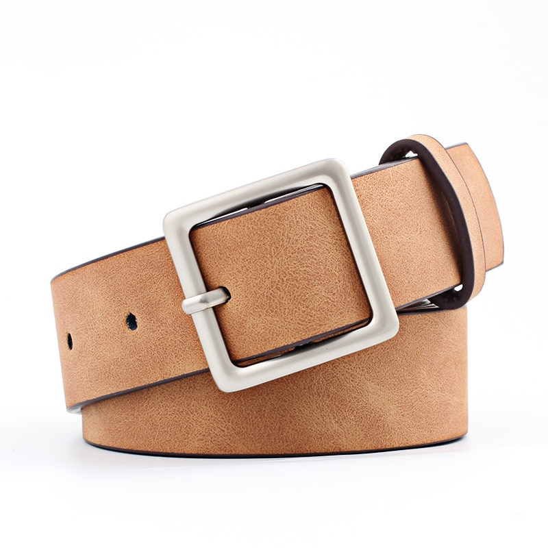 2019 New Arrival Beautiful Adjustable Square Buckle Fashion Belt  Hot Sale Girls 8 Colors Women PU Leather