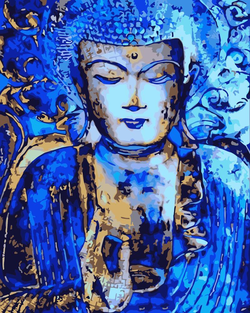 Pintura por números DIY Dropshipping 40x50 60x75cm sombra azul Buda estatua figura lienzo decoración de la boda arte imagen regalo