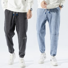 2021 Winter New Warm Fleece Jeans Men Fleece Casual Cozy All-match Hip Hop Streetwear Denim Pants Hi