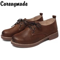 careaymade new lace up womens shoesmori womens art retro single shoesleather soft leather soft solethick heel casual shoes