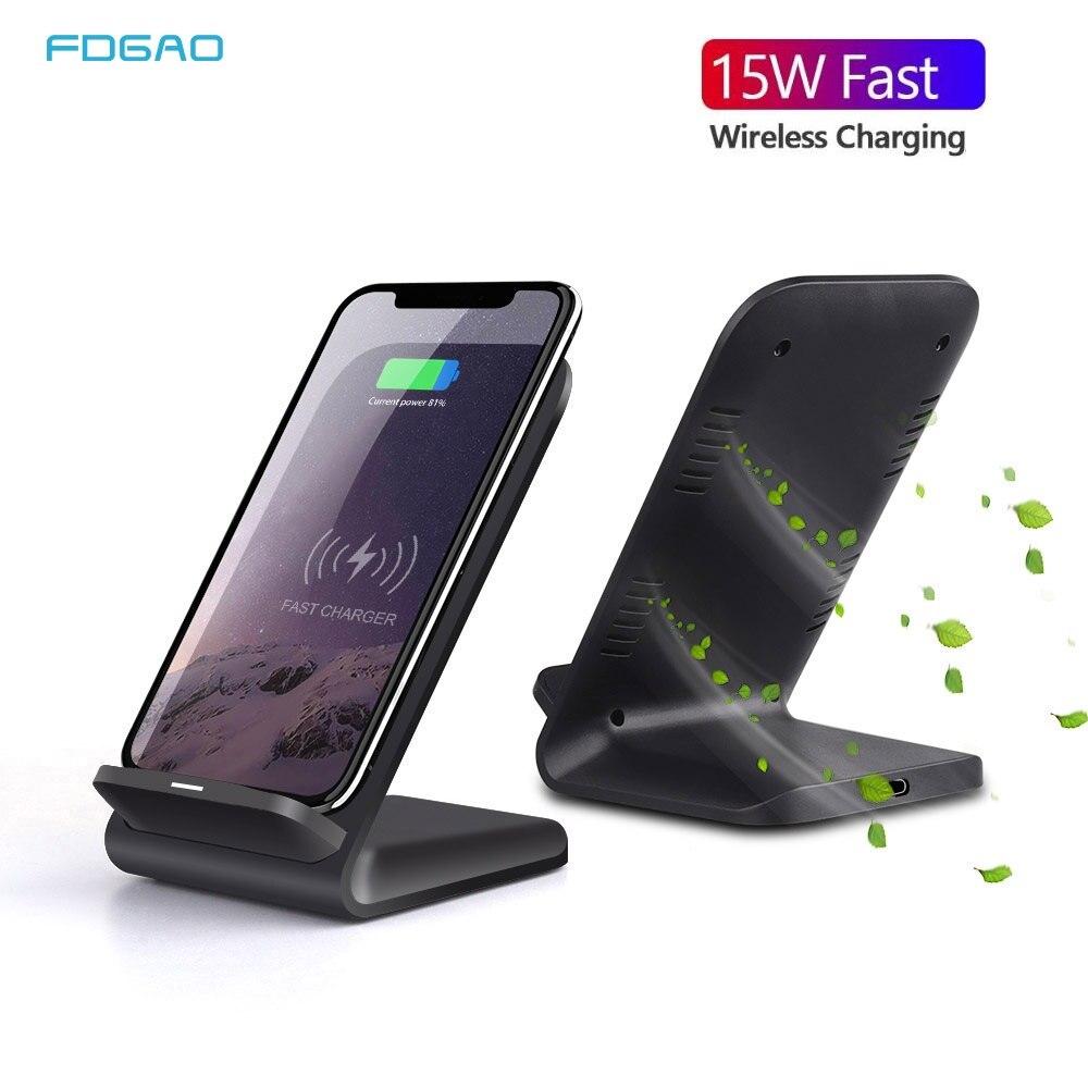 Soporte cargador inalámbrico FDGAO 15W Qi para iPhone 11 Pro X XS Max XR 8 QC 3,0 10W soporte de carga rápida para Samsung S8 S9 S10 +