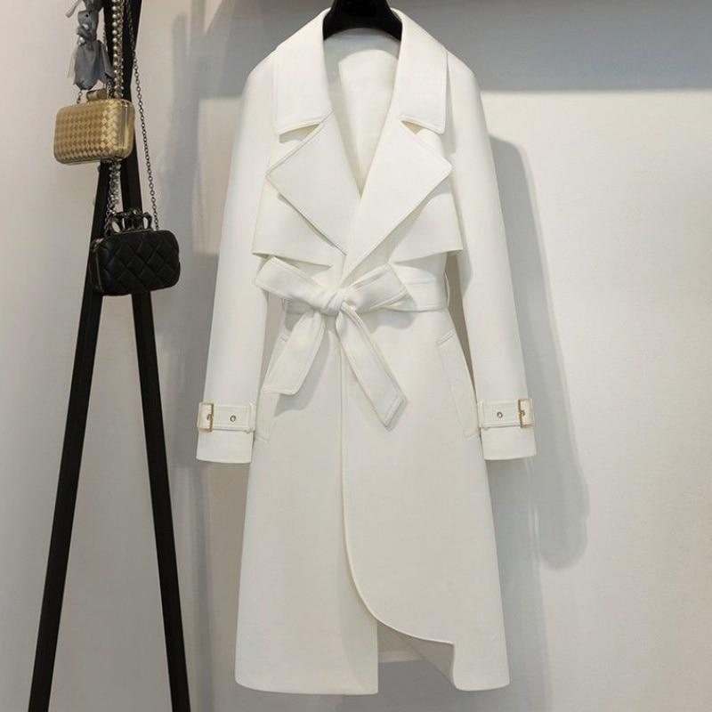 Abrigo largo de manga larga con cinturón de sobretodo hasta T25la cintura...