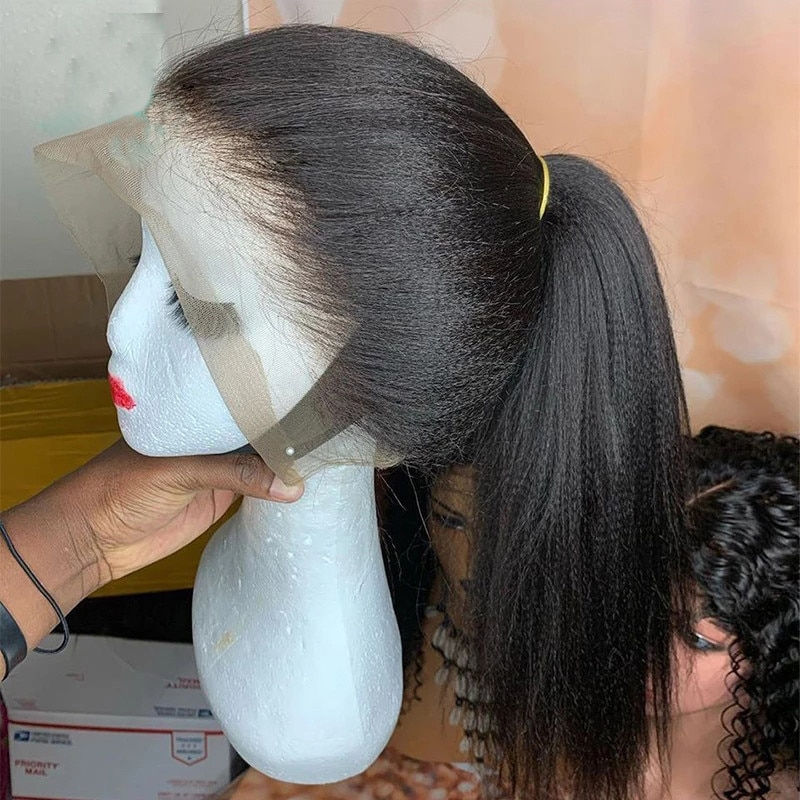 Long Kinky Straight Lace Front Synthetic Hair Wigs Yaki Straight Lace Front Wigs for Black Women Heat Fiber Hair Wig