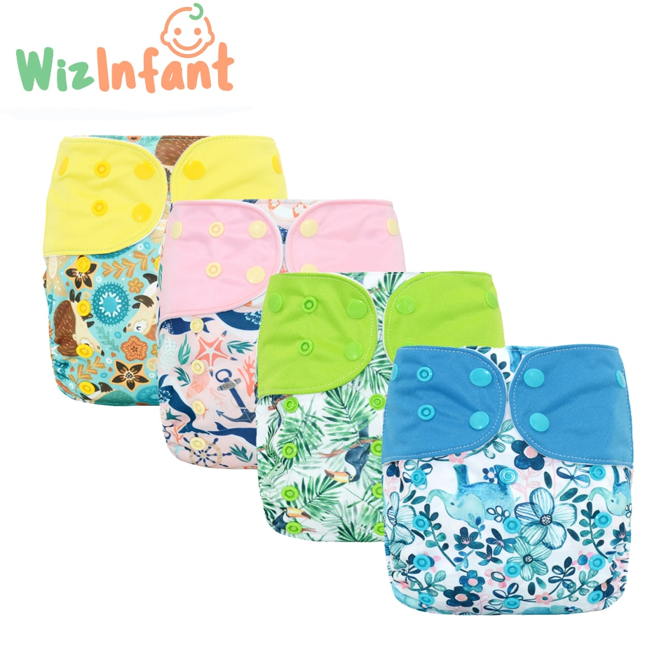 super soft minky printed baby one size pocket diaper with double leg gusset breathable diaper nappies with bamboo charcoal inner WizInfant OS Suede Cloth Pocket Cloth Diaper,with one back elastic pocket,reusable ,waterproofand breathable,for 3-18kg baby