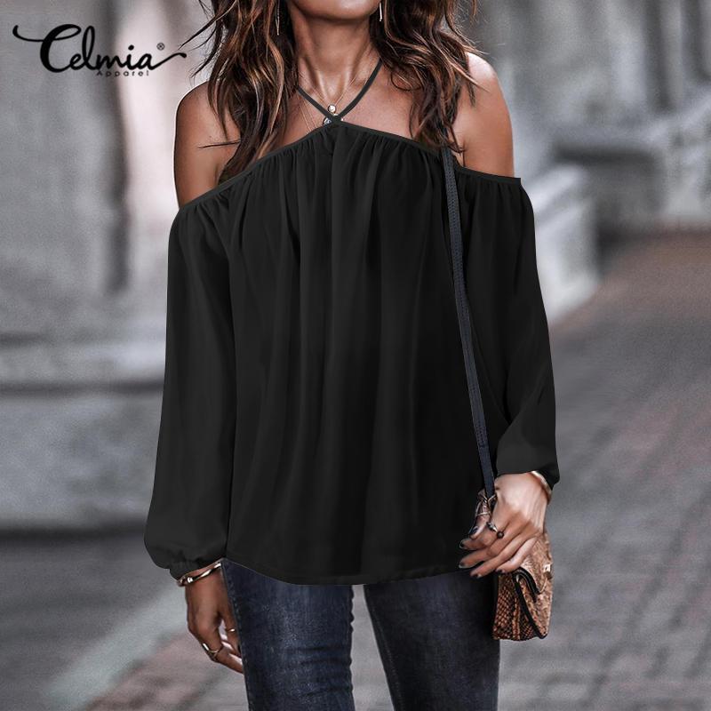 Celmia Sexy Halter Chiffon camisas mujeres Tops y blusas 2020 verano Casual fuera del hombro manga larga sólida fiesta Blusa de talla grande
