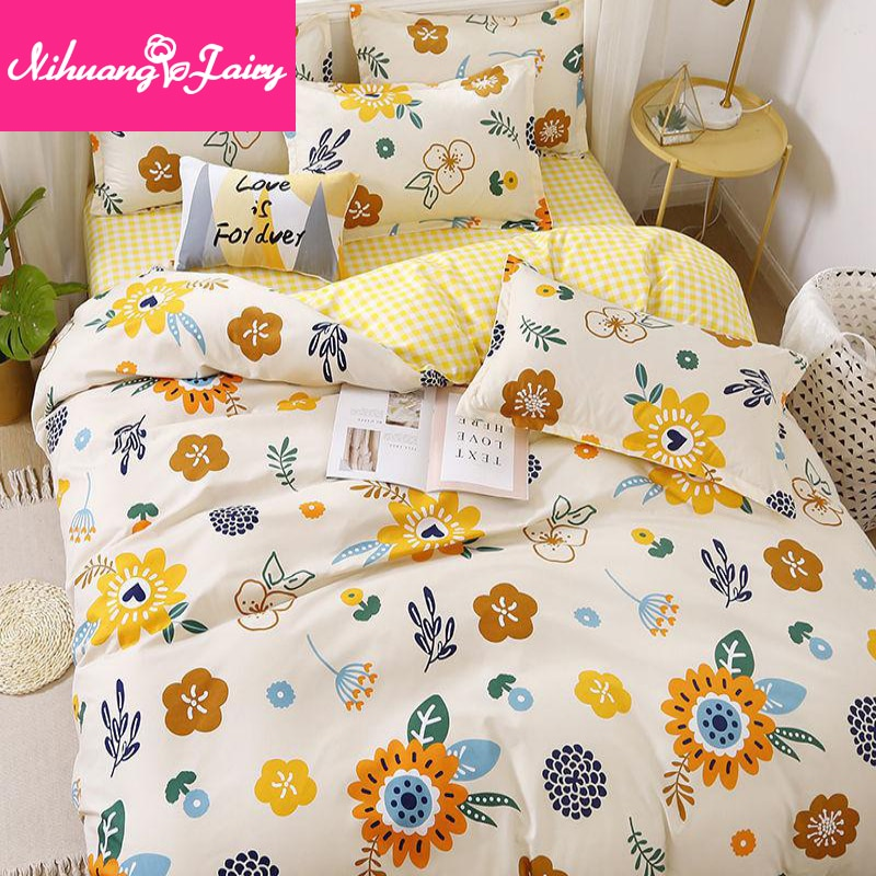 ins net red four-piece bedding princess style bed sheet quilt cover student three-piece skin-friendly girl heart